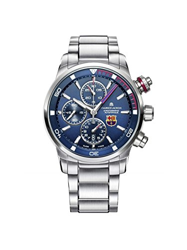 Maurice Lacroix Pontos S Chronograph FCBarcelona Men's Black Dial Stainless Steel Automatic Swiss Made Watch PT6008-SS002-431