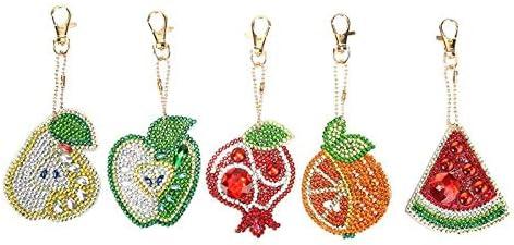 xieshang 5pcs//Set 5D DIY Diamant Peinture Compl/ète Pendentif Broderie Porte-cl/és Porte-cl/és Bijoux Cadeau A