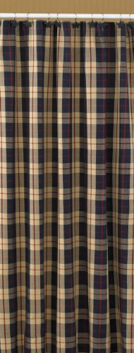 Freedom Collection Shower Curtain Navy Cream Red Plaid Traditional Casual Country Home Décor