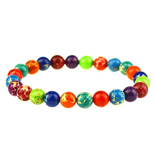 CLEARAIN Beautiful Energy Power Crystal 8mm Chakra Beads Reiki Healing Elastic Stretch Bracelet Mix-color Sea Sediment Jasper
