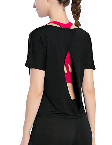 Fastorm Open Back Shirts for Women Boxy T-Shirt Short Sleeve Crop Workout Tops Black L
