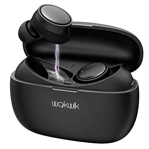 WAKWLK Bluetooth 5.0 True Wireless Earbuds with Charging Case for iPhone Android, 55H Cyclic Playtime Waterproof Touch Control TWS Stereo Headphones with mic, in-Ear Earphones Headset for Sport