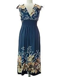 812 - Vestido de verano con estampado floral de tamaño grande