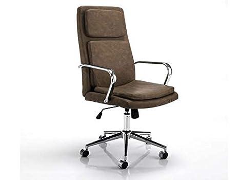 Tomasucci prestige poltrona da ufficio in pelle colore: marrone