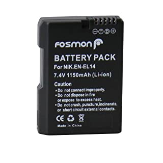 Fosmon 7.4V 1500mAh Fully Decoded Replacement Battery Nikon EN-EL14 DSLR for Nikon Camera Models COOLPIX P7000 / P7100 / P7700 / D3100 / D3200 / D5100 / D5200 - Fosmon Retail Packaging (B00C27YAFK) | Amazon price tracker / tracking, Amazon price history charts, Amazon price watches, Amazon price drop alerts