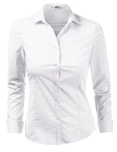 Doublju Womens Slim Fit Business Casual Long Sleeve Button Down Dress Shirt White Medium by Doublju (Image #1)