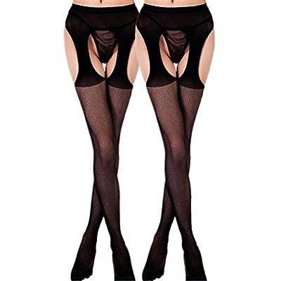 Daisland Floral Lingerie Garter Belt Crotchless Plus Size Stocking Pantyhose, Lot 2