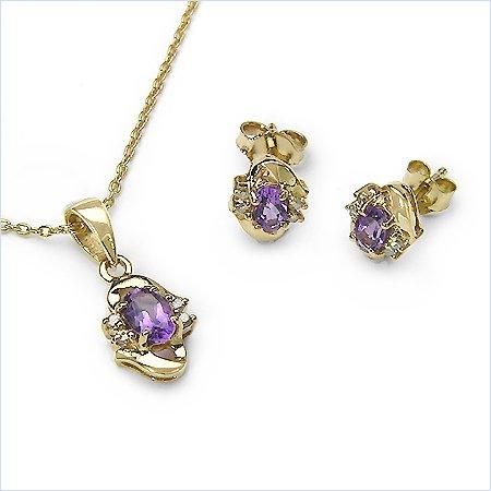 Bijoux-Schmidt-Diamond / améthyste SET-4-telig pendentifs, chaînes, boucles d'oreilles 1.12 carats