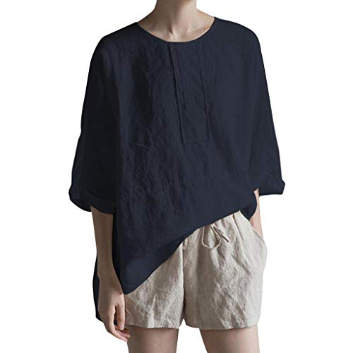 Mikilon Women's 3/4 Sleeve Plus Size Cotton Linen Jacquard Blouses Top T-Shirt White