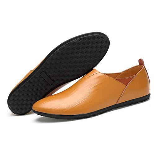 Perezosos Suela Zapatos Mano Slip Otoño Primavera Blanda Zapatos a Marrón Costura Cuero Mocasines Comfort Hombres de y conducción Caminar Ons Verano YaXuan para Zapatos para B5wUdBq