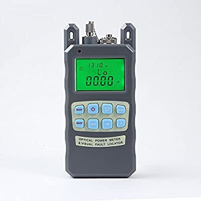 PacSatSales All-In-One Handheld Optical Power Meter with 10mW Visual Fault Locator & Fiber Optic Laser Cable Tester - Instructions in English