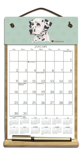 Wooden Refillable Dog Calendar Holder filled with 2018, 2019 and an order form for 2020-DALMATIAN