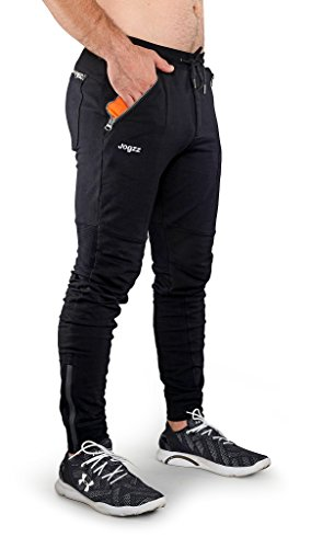 Jogzz Mens Joggers - Zipper Fly - High Fashion Joggers Men -Skinny Pants Great Working Out Hanging Out -Black
