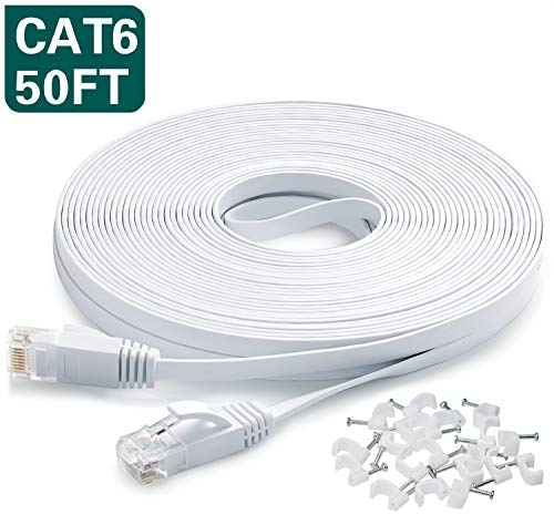 Ethernet Cable 50 Ft,Cat6 Internet Cable Flat Network LAN Patch Cord White with Clips Snagless Rj45 Connectors,High Speed Computer Wire Faster Than Cat5e Cat5 for Ps4,Xbox,Router,Modem,Network Switch (Bridge Dsl)