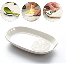3-in-1 Ceramic Spoon Rest Ginger Grater Herb Stripper - Porcelain Grater Plate for Ginger, Garlic , Onion and More - Easy to Clean and Storage - by Kitchendao