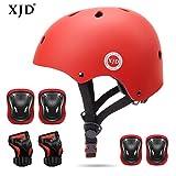 XJD Kids Helmet 3-8 Years Toddler Helmet Sports Protective Gear Set Knee Elbow Wrist Pads Roller Bicycle BMX Bike Skateboard Adjustable Helmets for Kids (RED)