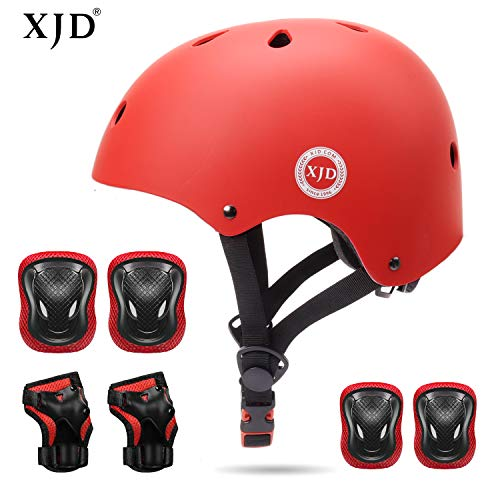 XJD Kids Helmet 3-8 Years Toddler Helmet Sports Protective Gear Set Knee Elbow Wrist Pads Roller Bicycle BMX Bike Skateboard Adjustable Helmets for Kids (RED) ()