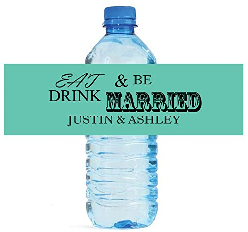 100 Mint Eat Drink be Married Wedding Anniversary Engagement Party Water Bottle Labels 8