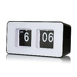 Lcyyo@ Creative Cube Digital Retro Auto Flip Clock File Down Page Clocks Desk Wall Clock AM/ PM Format Display Timepiece for Home, Office (Black)
