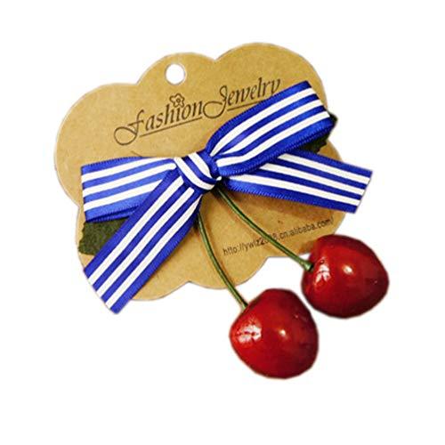 Lolita Girl Hair Clip Cherry Bowknot Hairpin Vintage Hair Accessories ZFJ02 (Blue)