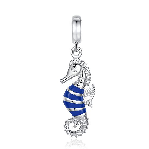 Sterling Silver Faceted Tigers (Glamulet Art Women's 925 Sterling Silver Hippocampus Seahorse Dangle Charm Fits Pandora)