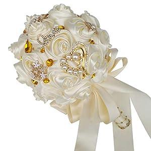 HORHIN Handmade Wedding Bouquet Crystal Pearl Silk Roses Rhinestone Bridal Bridesmaid Wedding Hand Bouquet Artificial FlowersIvory 5