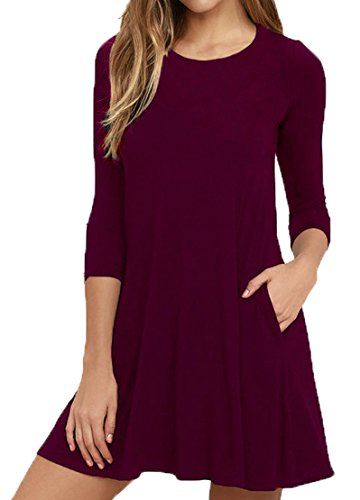 Viishow Women's Loose Round Neck Long Sleeve Stretch Solid A-Line Tunic Dresses Wine Red M