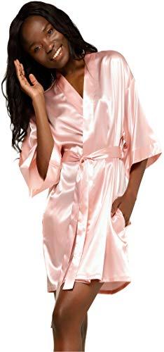 Turquaz Linen Satin Kimono Bridesmaids Robe (XX-Large, Pink)