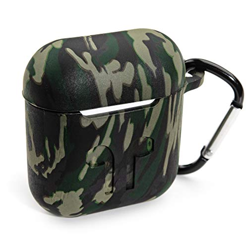 PeepCase AirPods Case Cover for AirPod 1 & 2 Green Camo Camouflage with Wireless Charging Support and Keychain