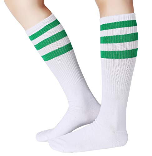 Pareberry Classical Triple Stripes Soft Cotton Over-the-Calf Retro Tube Socks (A-Pair(Green/White))]()