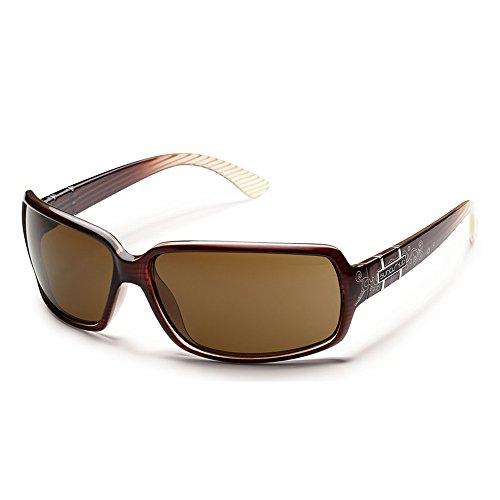 Suncloud Optics Women's Poptown Polarized Sunglasses(Brown Stripe Laser,Brown - Laser Sunglasses
