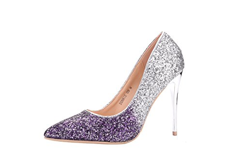 Mila Lady BONNIE09 Women Fashion Embellished Sparkles Contrast Color Pointed Toe Pumps High Heel Stilettos Sexy Slip On Dress Shoes, PURPLE5.5