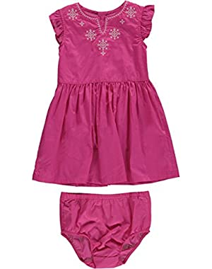 Carters Baby Girls Embroidered Flutter-Sleeve Dress Pink