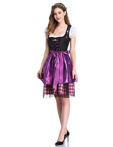 Vestiti donna abbigliamento 34 gonna oktoberfest lunga donna Plaid Yiwa per bavarese 42 Viola vestito La gq5wdpTpx