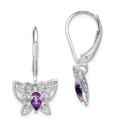 925 Sterling Silver Purple Amethyst Diamond Butterfly Leverback Earrings Lever Back Drop Dangle Animal Fine Jewelry Gifts For Women For - Leverback Flower Earrings Diamond