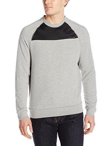 - Calvin Klein Jeans Men's Nylon Pieced Crew Sweatshirt, Medium Charcoal Heather, Large