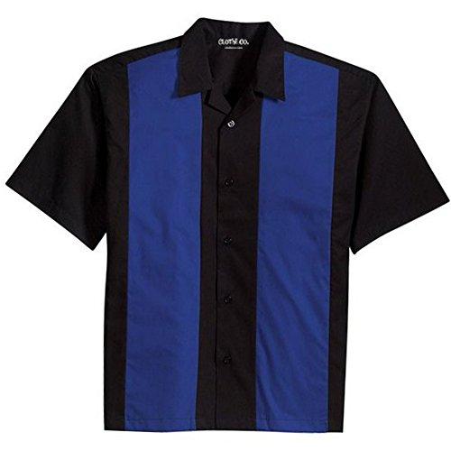 Clothe Co. Mens Retro Bowling Camp Shirt, Black/Royal, M