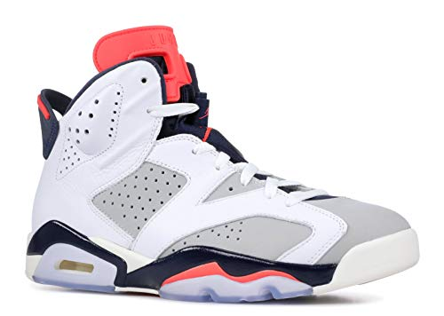 Jordan Nike Men's Air 6 'Tinker' Retro White/Infrared 23-Neutral Grey-Obsidian 384664-104 (Size: 9.5)