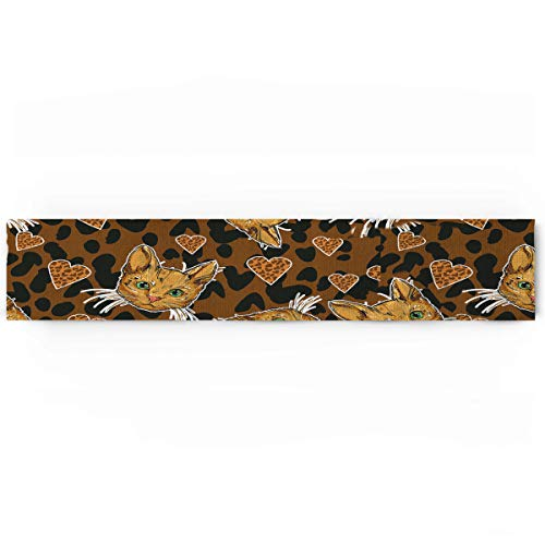 (KAROLA Dining Table Runner Dresser Scarf,Animal Leopard Print Cat Pattern Modern Table Runner for Kitchen Wedding Party Office Decor,Rectangular 14 x 72 Inches)