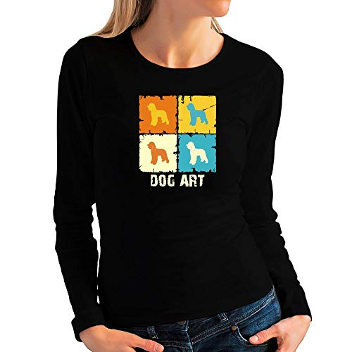 Idakoos Irish Water Spaniel Dog Art POP Art Women Long Sleeve T-Shirt L -