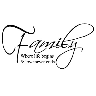 Wangyue Family Where Life Begins & Love Never Ends Quote Wall Sticker Art Decor Room Decal