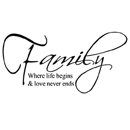 Wangyue Family Where Life Begins & Love Never Ends Quote Wall Sticker Art Decor Room Decal (Love Never Ends)