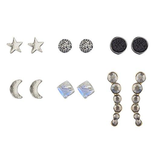 Lux Accessories Silvertone Celestial Moon Star Druzy Stone Multi Pack Set 6PCS