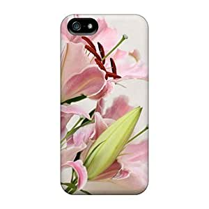 Defender For Case Iphone 5/5S Cover , Nature Flowers Lilies Pattern