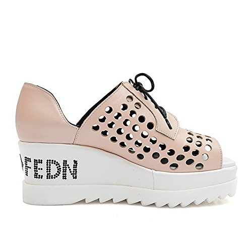 Amoonyfashion Mujeres Lace-up Kitten-heels Vaca Cuero Sólido Peep Toe Sandals Pink