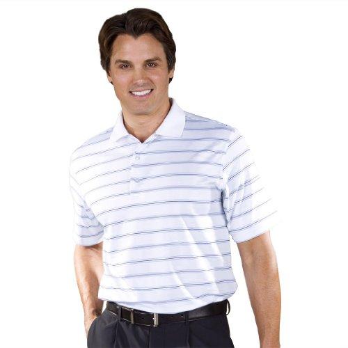 Monterey Club Mens Dry Swing Layer Stripe Texture Polo Shirt #1637 (White/Ocean blue, Large)