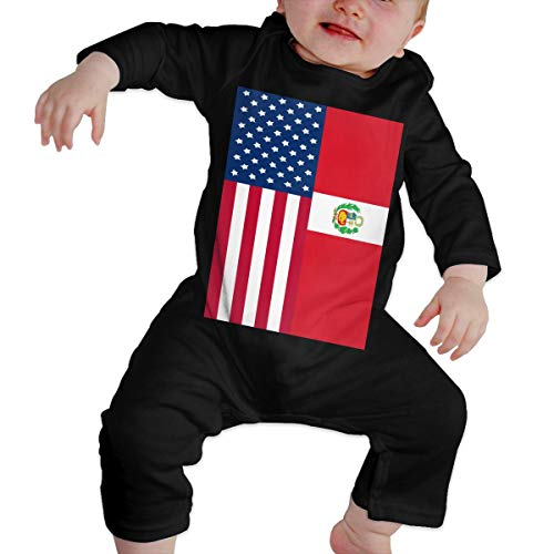 U99oi-9 Long Sleeve Cotton Rompers for Baby Boys and Girls, Cute Peru American Flag Crawler Black -