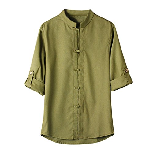 iHPH7 Mens Blouse,Classic Chinese Style Kung Fu Shirt Tang Suit 3/4 Sleeve Linen