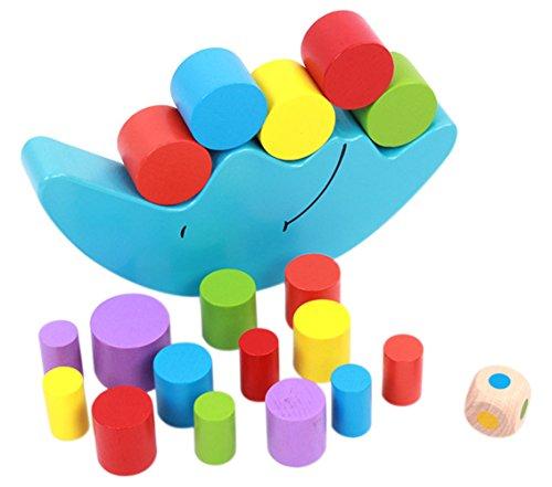 Naovio Kids Wooden Balance Toy Cartoon Moon Stacking Cylinder Blocks Set Balancing Game Educational (Cylinder Toy)
