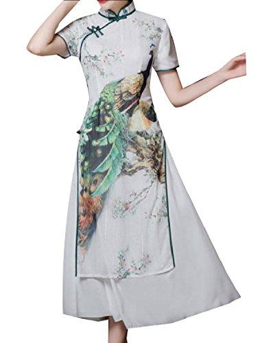 Cinese Strati Doppi Vestito Cheongsam Bianche Del Stile Seta Coolred Di donne Pavone Di qEtaFPxw